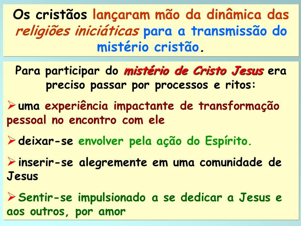 Os cristãos lançaram mão da dinâmica das religiões iniciáticas para a transmissão do mistério cristão.