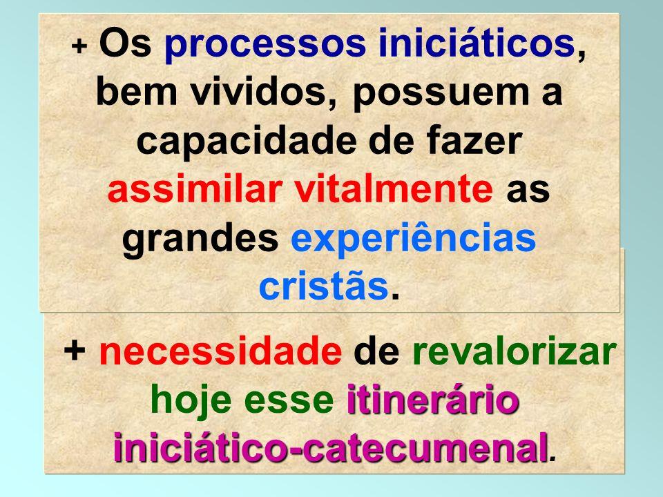 + Os processos iniciáticos, bem vividos, possuem a capacidade de fazer assimilar vitalmente as grandes experiências cristãs.