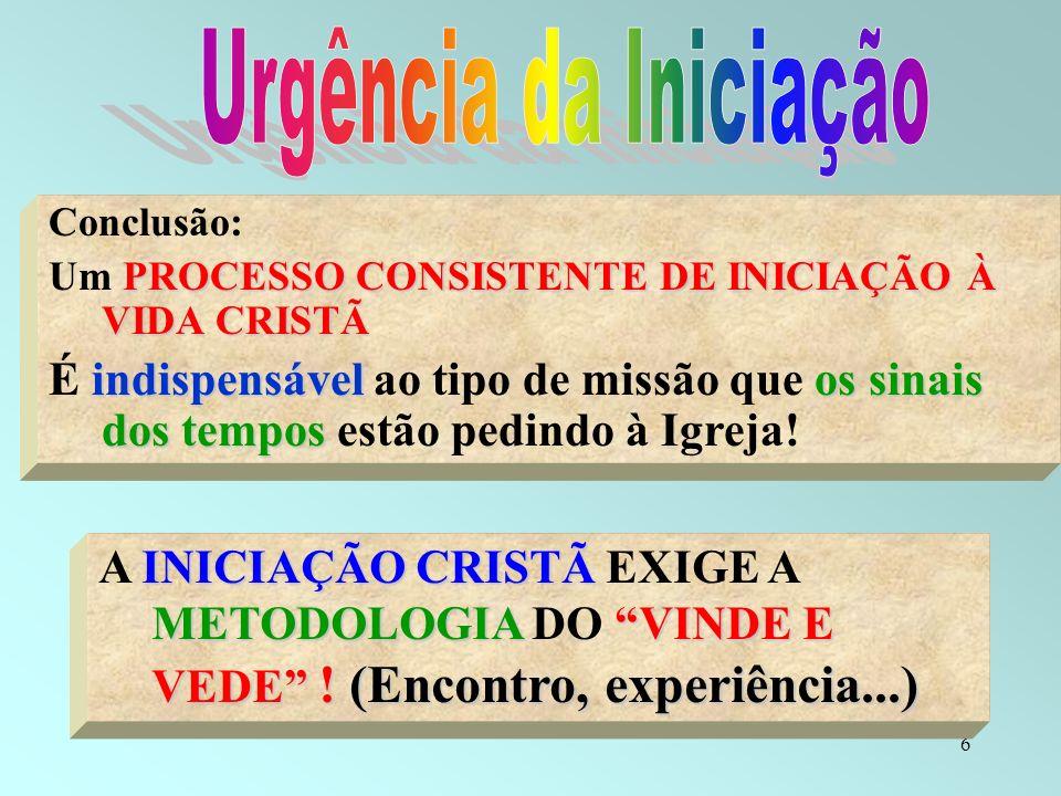 Urgência da IniciaçãoConclusão: Um PROCESSO CONSISTENTE DE INICIAÇÃO À VIDA CRISTÃ.
