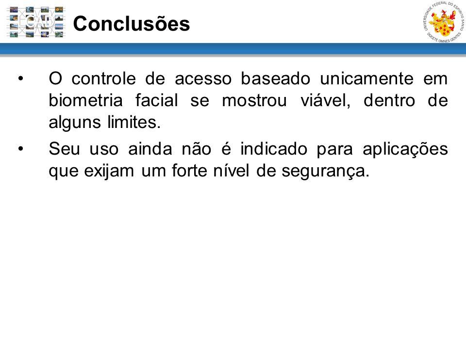 Conclusões O controle de acesso baseado unicamente em biometria facial se mostrou viável, dentro de alguns limites.