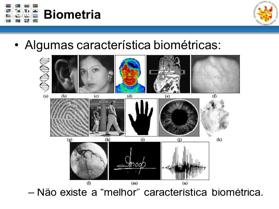 Algumas característica biométricas:
