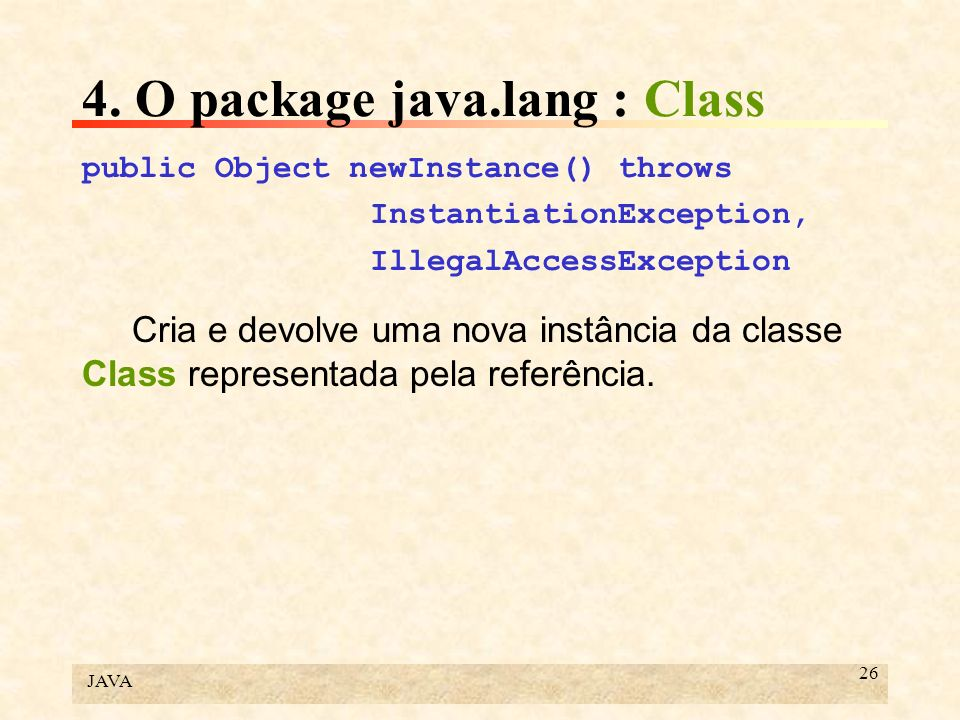 4. O package java.lang : Class