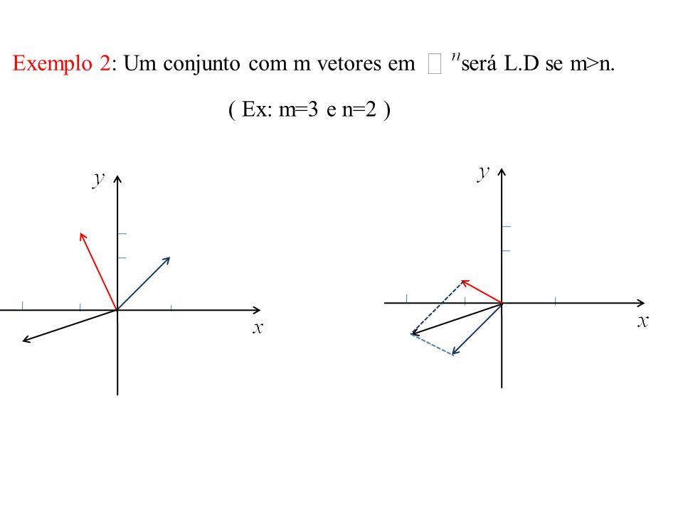 Exemplo 2: Um conjunto com m vetores em será L.D se m>n.