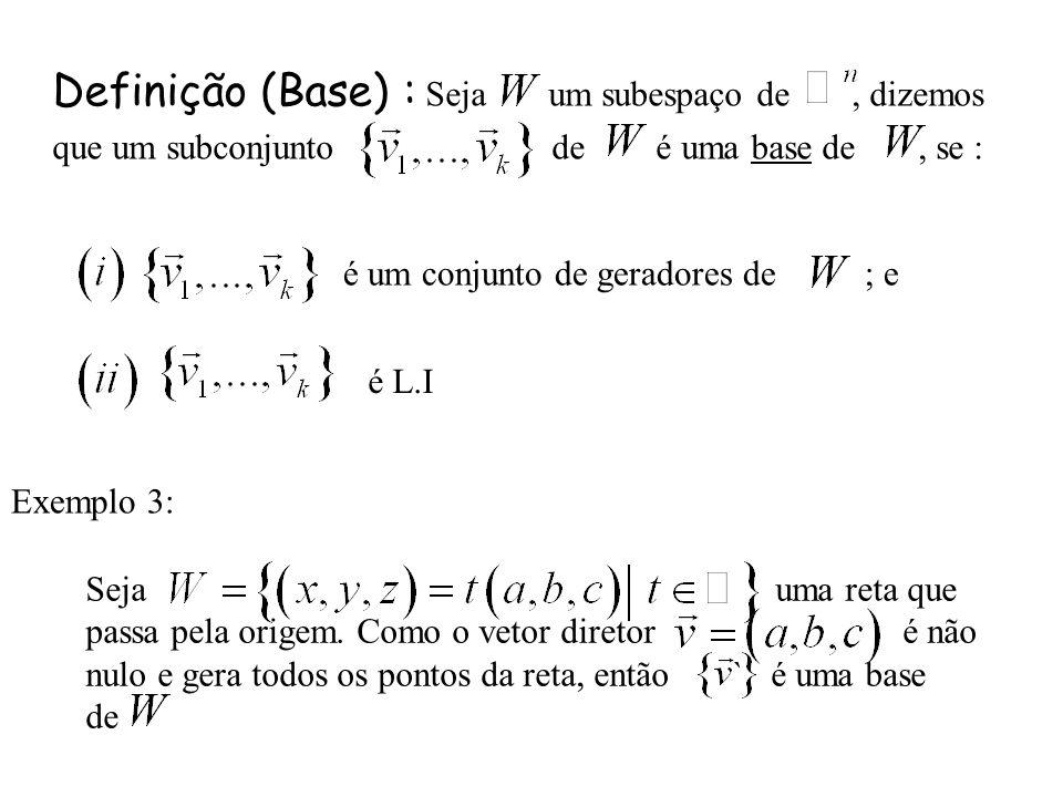 Definição (Base) : Seja um subespaço de , dizemos que um subconjunto de é uma base de , se :