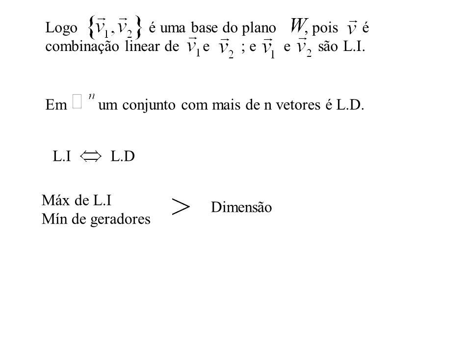 Logo é uma base do plano , pois é combinação linear de e ; e e são L.I.