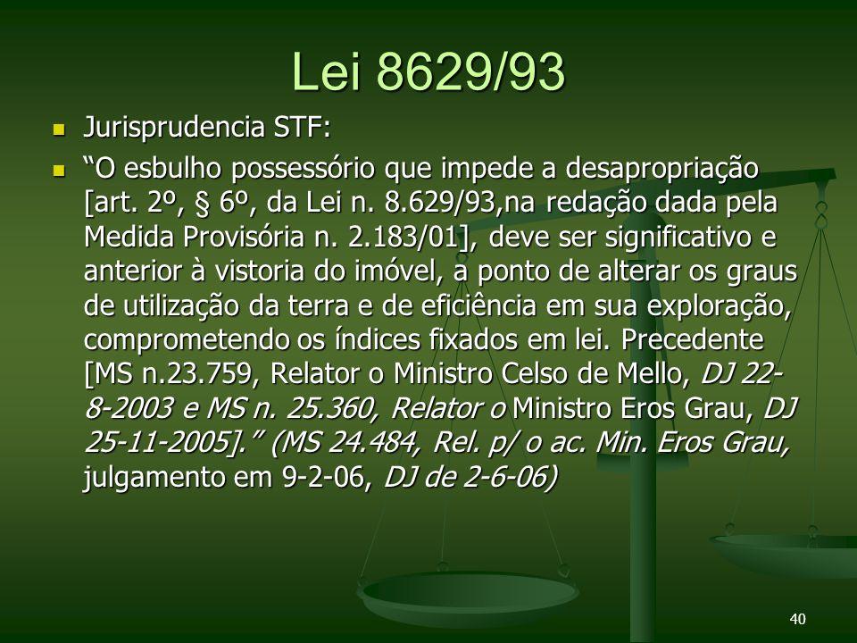 Lei 8629/93 Jurisprudencia STF: