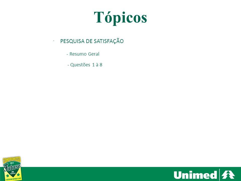 Tópicos PESQUISA DE SATISFAÇÃO - Resumo Geral - Questões 1 à 8