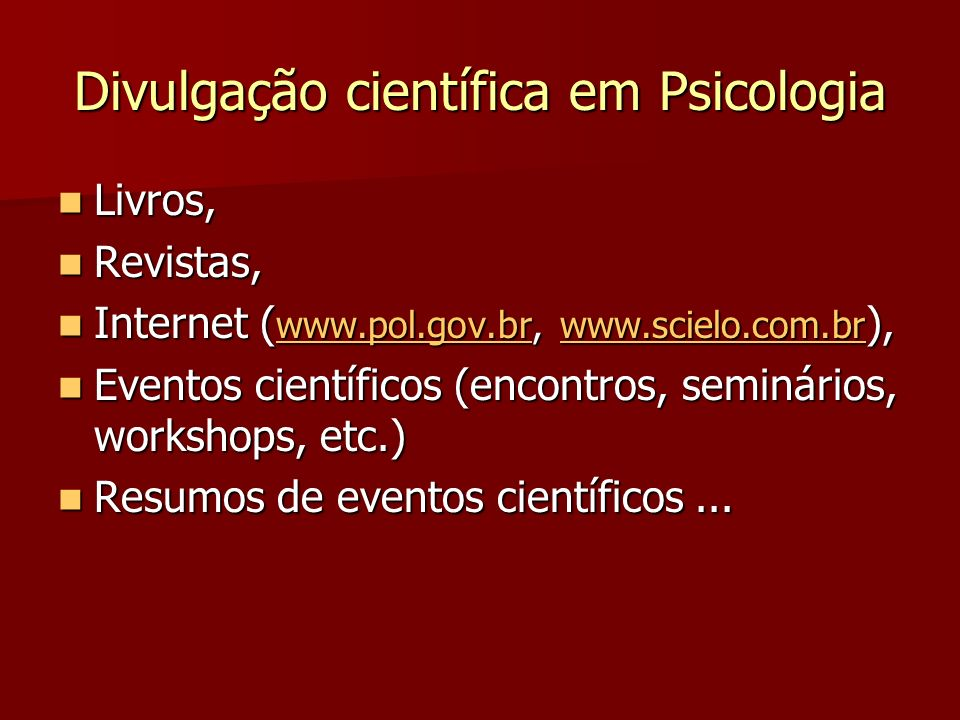 Divulgação científica em Psicologia