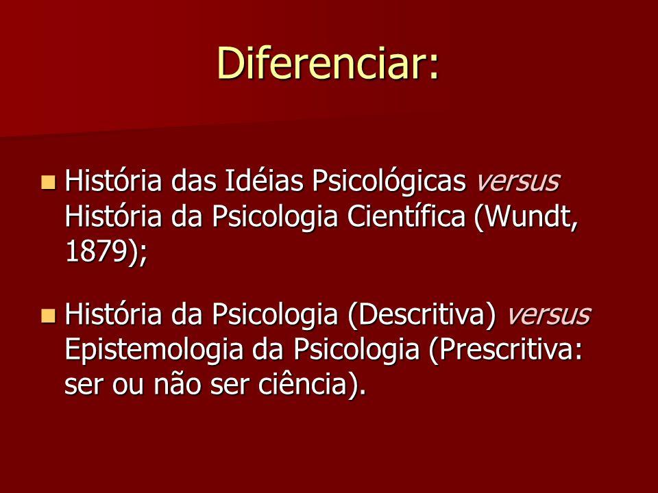 Diferenciar: História das Idéias Psicológicas versus História da Psicologia Científica (Wundt, 1879);