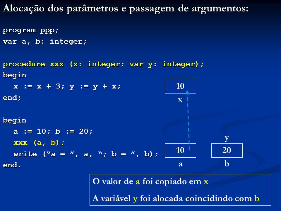 Alocação dos parâmetros e passagem de argumentos: