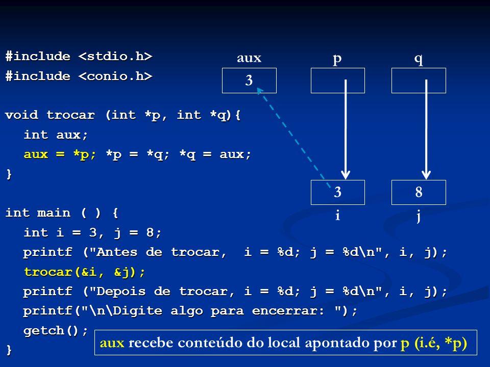 aux recebe conteúdo do local apontado por p (i.é, *p)