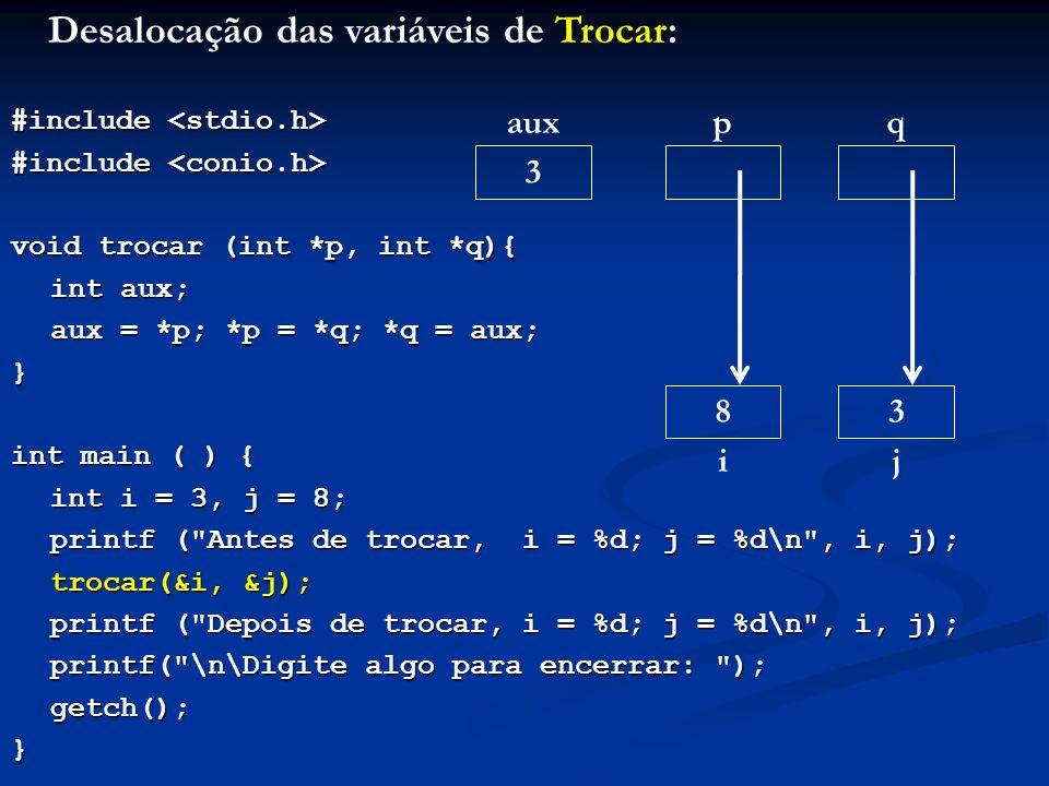 Desalocação das variáveis de Trocar: