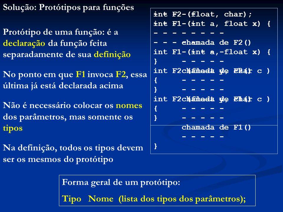 Solução: Protótipos para funções
