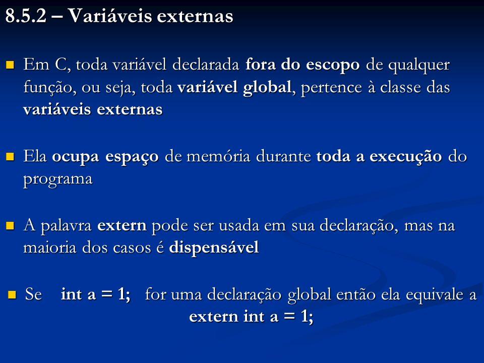 8.5.2 – Variáveis externas
