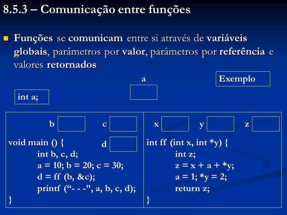 8.5.3 – Comunicação entre funções
