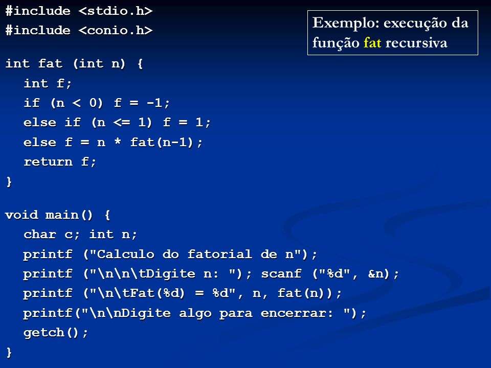 Exemplo: execução da função fat recursiva