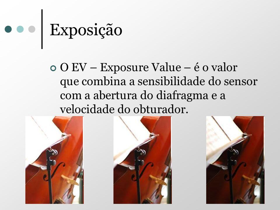 ExposiçãoO EV – Exposure Value – é o valor que combina a sensibilidade do sensor com a abertura do diafragma e a velocidade do obturador.
