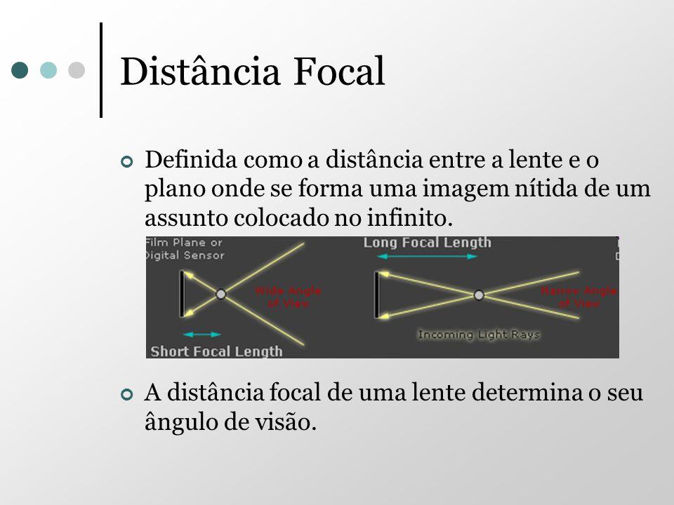 Distância FocalDefinida como a distância entre a lente e o plano onde se forma uma imagem nítida de um assunto colocado no infinito.
