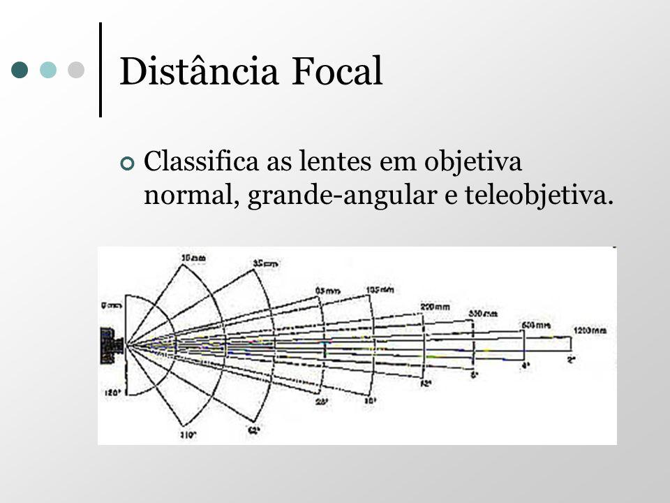 Distância Focal Classifica as lentes em objetiva normal, grande-angular e teleobjetiva.
