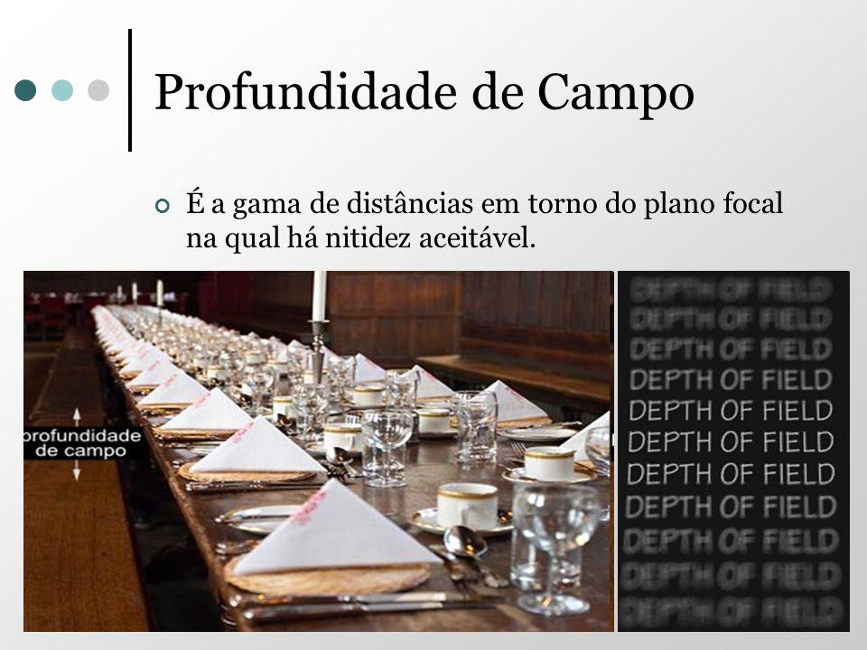 Profundidade de Campo É a gama de distâncias em torno do plano focal na qual há nitidez aceitável.