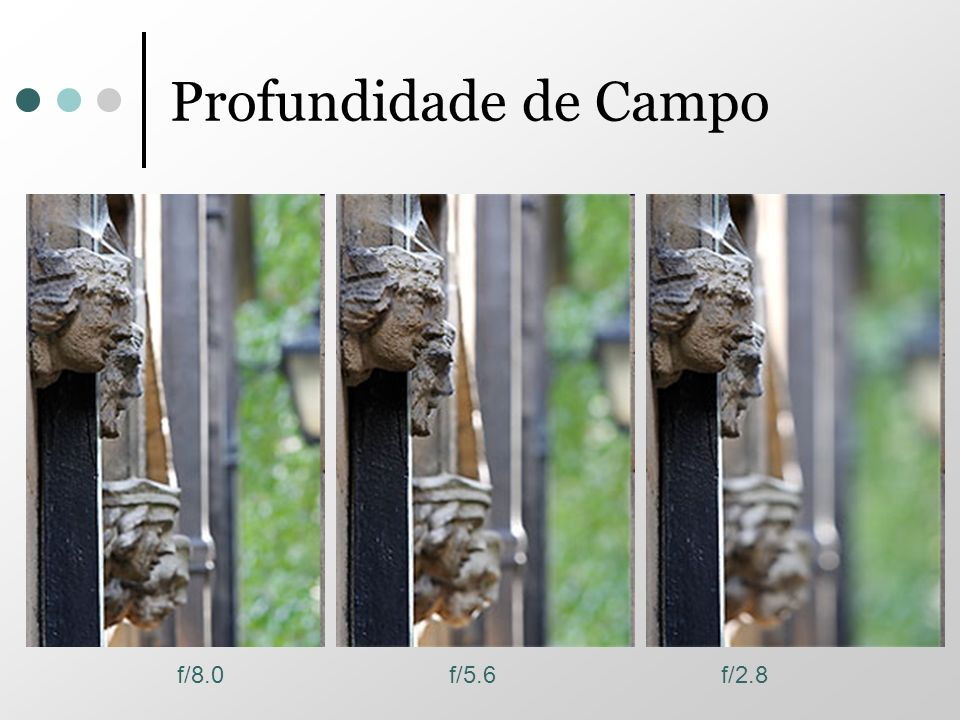 Profundidade de Campo f/8.0 f/5.6 f/2.8
