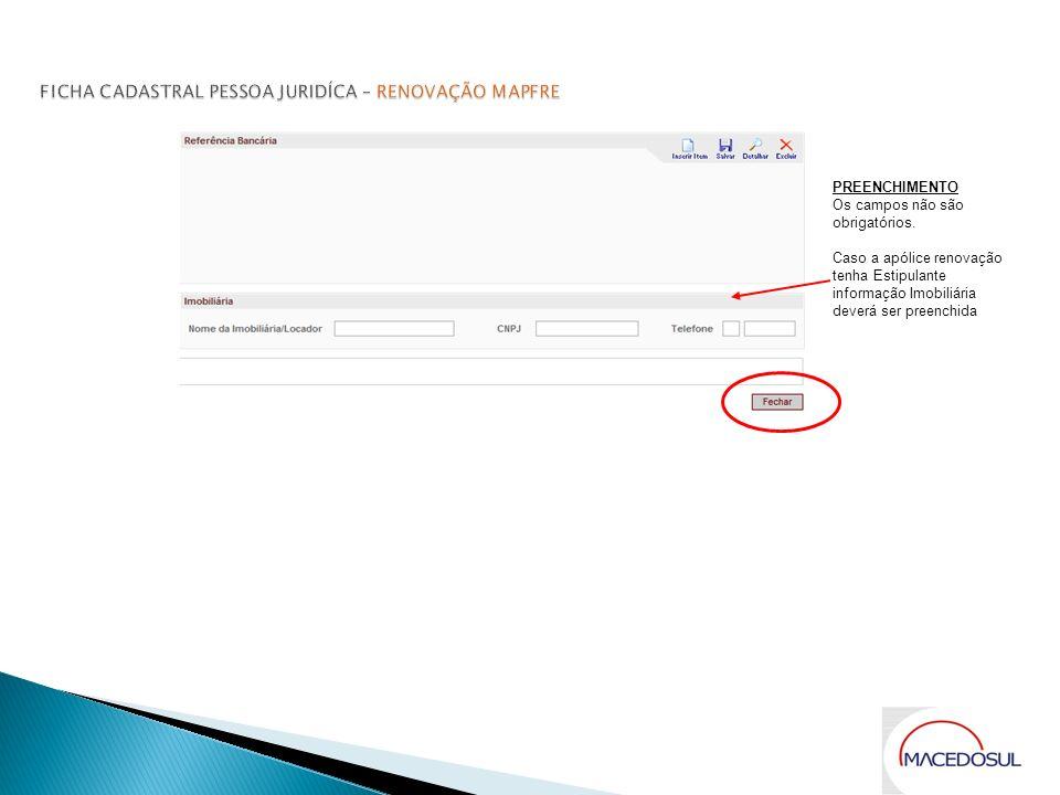 FICHA CADASTRAL PESSOA JURIDÍCA – RENOVAÇÃO MAPFRE
