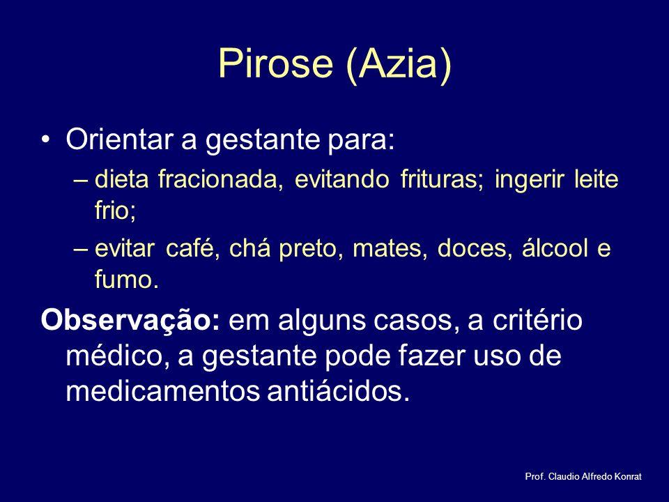 Pirose (Azia) Orientar a gestante para: