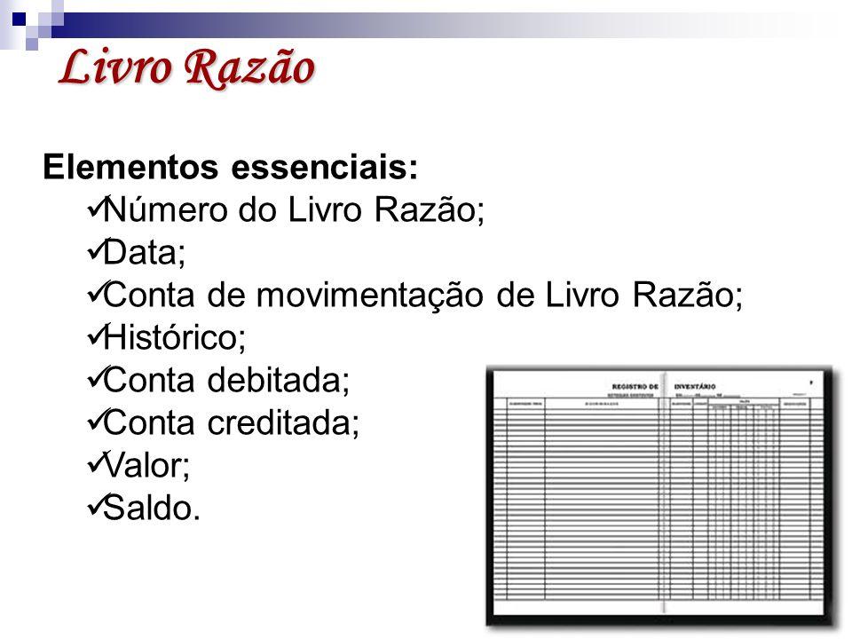 Livro Razão Elementos essenciais: Número do Livro Razão; Data;