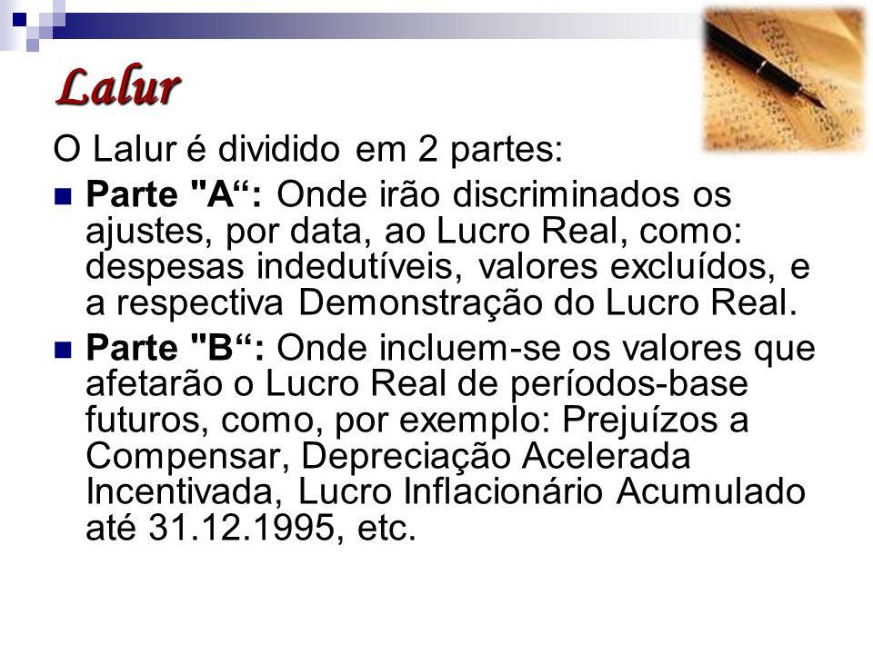 Lalur O Lalur é dividido em 2 partes: