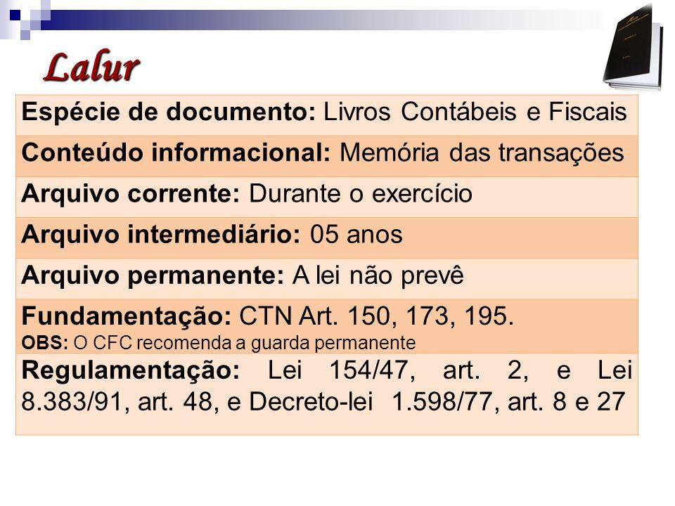 Lalur Espécie de documento: Livros Contábeis e Fiscais