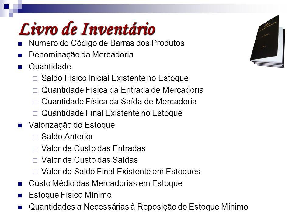 Livro de Inventário Número do Código de Barras dos Produtos