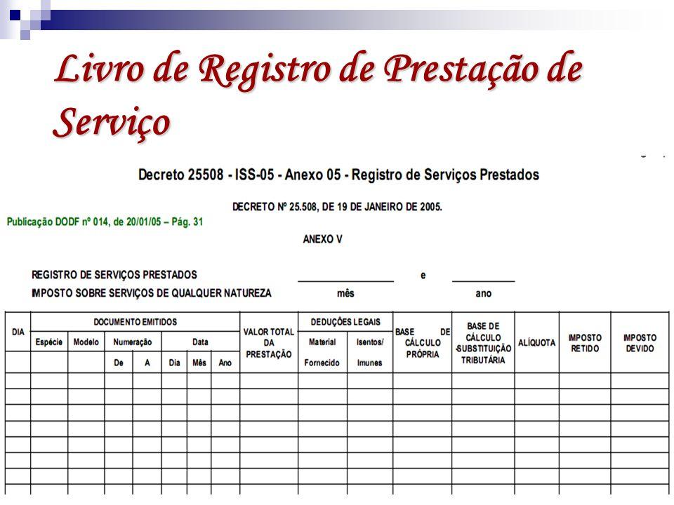 Livro de Registro de Prestação de Serviço