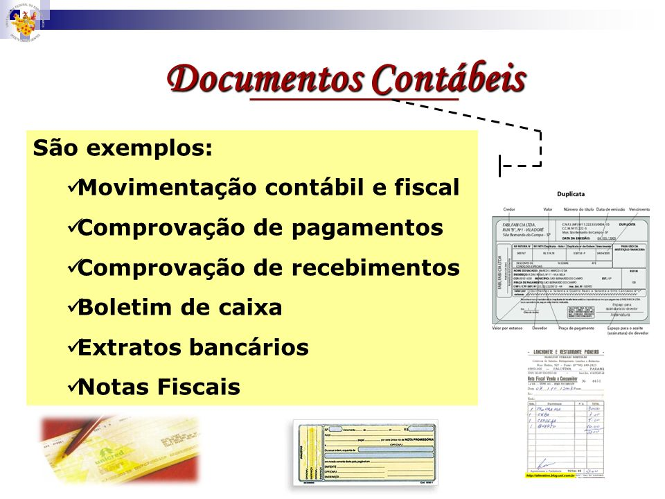 Documentos Contábeis São exemplos: Movimentação contábil e fiscal