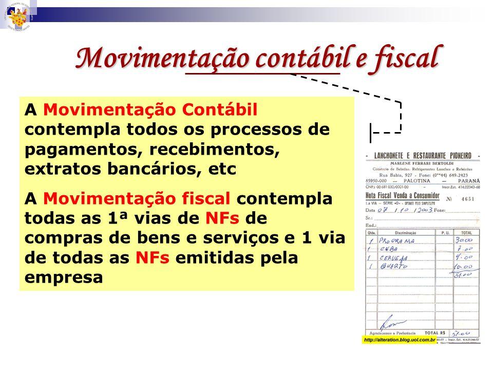 Movimentação contábil e fiscal