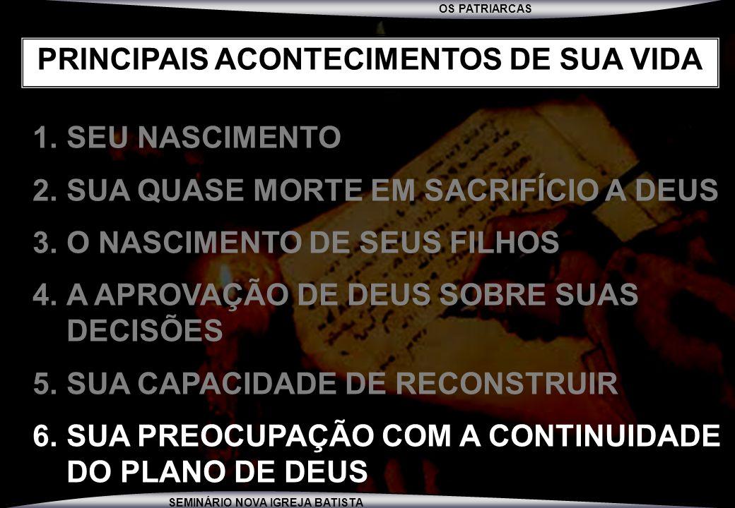 PRINCIPAIS ACONTECIMENTOS DE SUA VIDA