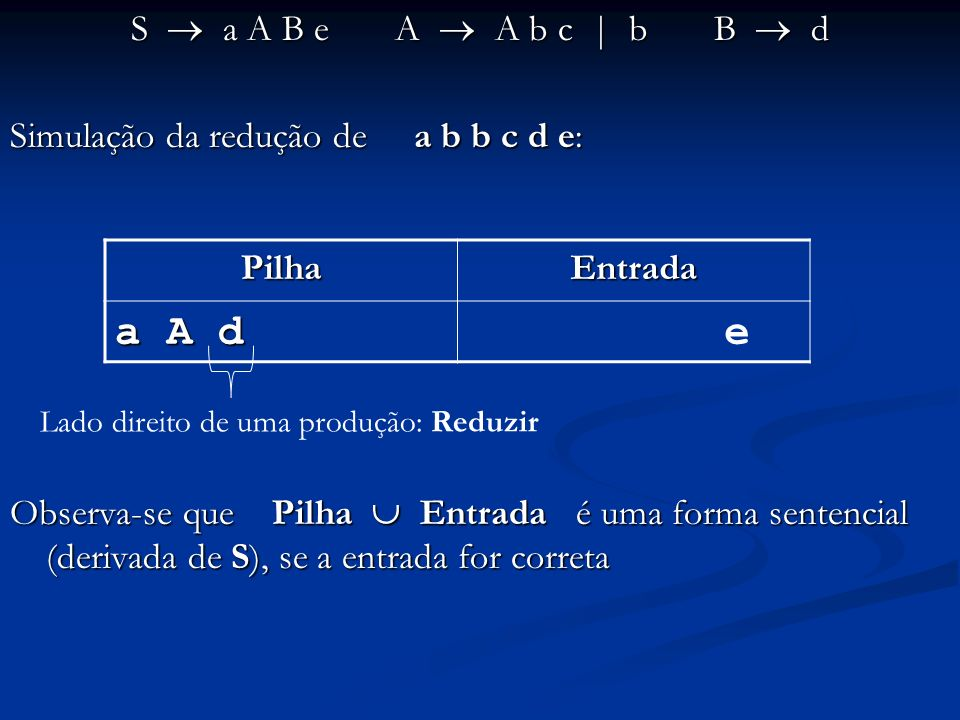 a A d e S  a A B e A  A b c | b B  d