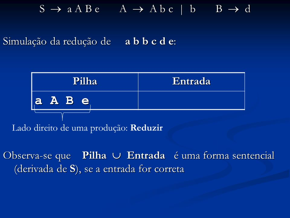 a A B e S  a A B e A  A b c | b B  d