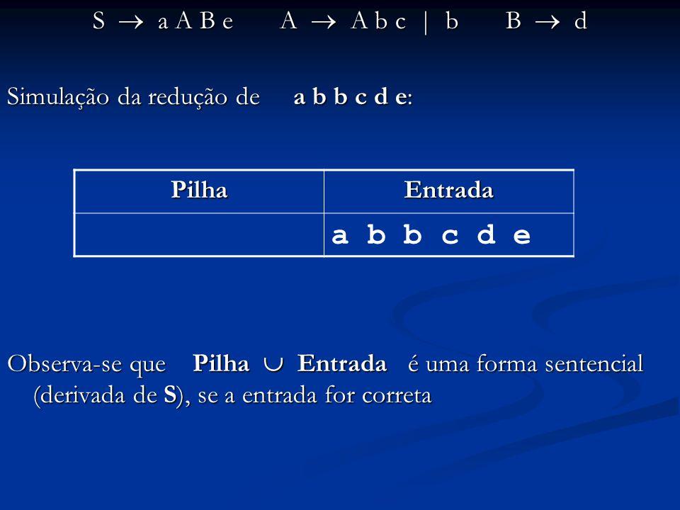 a b b c d e S  a A B e A  A b c | b B  d