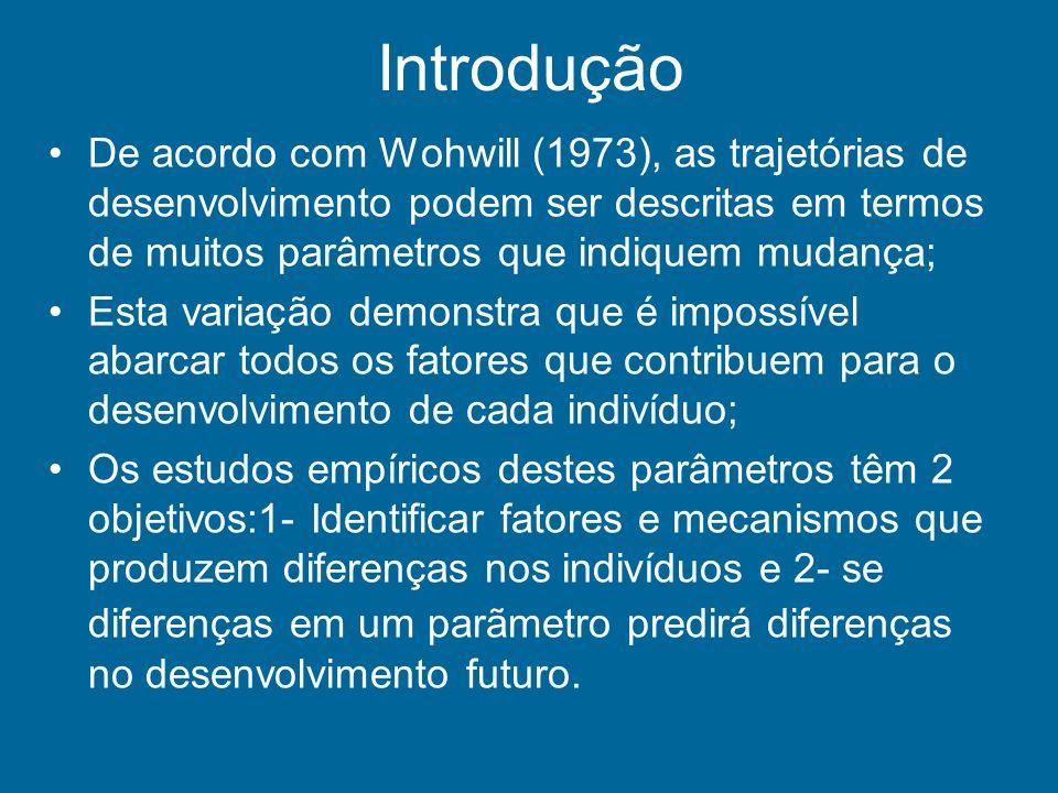 Introdução De acordo com Wohwill (1973), as trajetórias de desenvolvimento podem ser descritas em termos de muitos parâmetros que indiquem mudança;