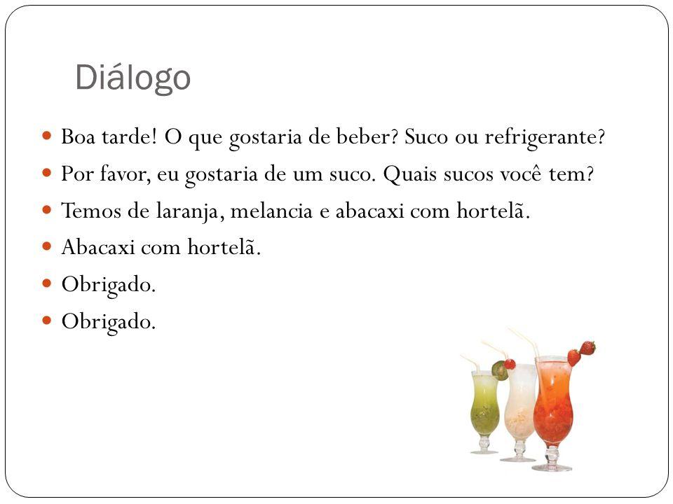 Diálogo Boa tarde! O que gostaria de beber Suco ou refrigerante