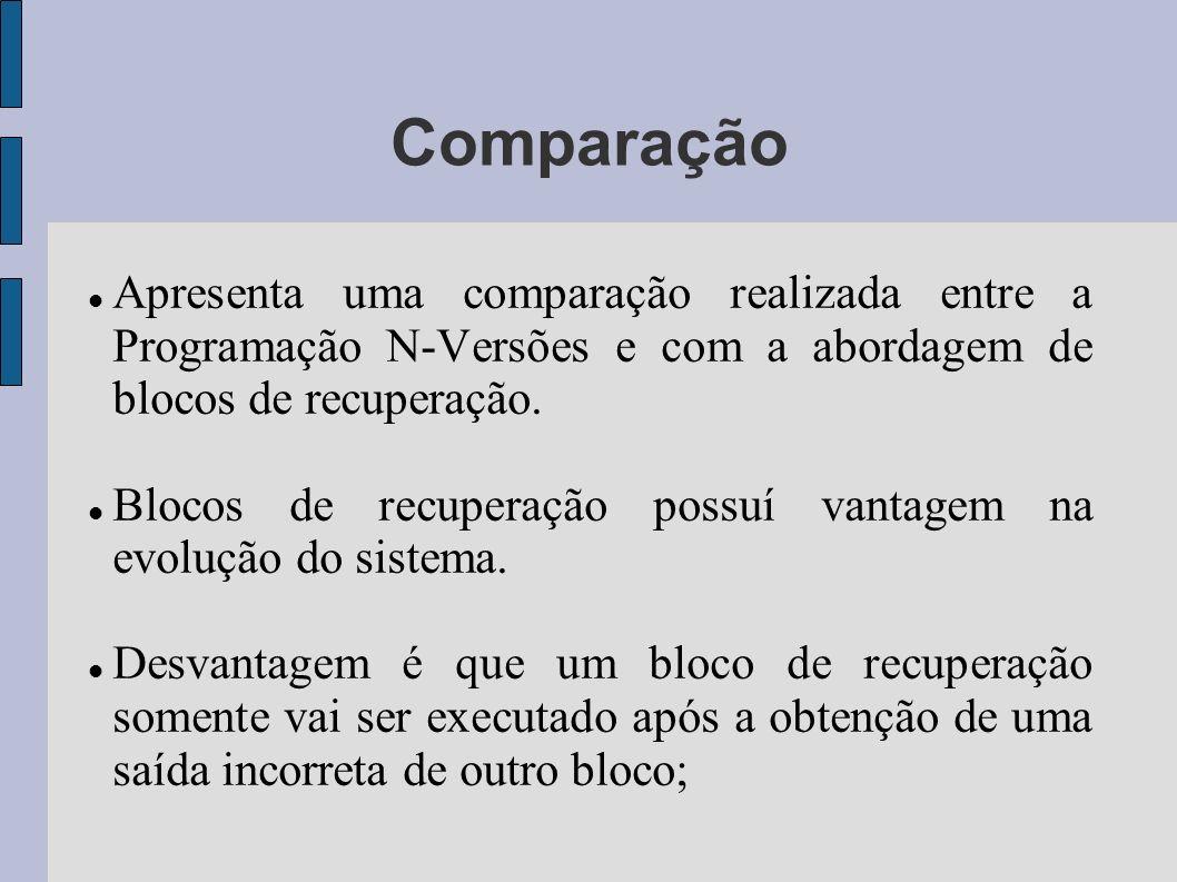 Comparação Apresenta uma comparação realizada entre a Programação N-Versões e com a abordagem de blocos de recuperação.