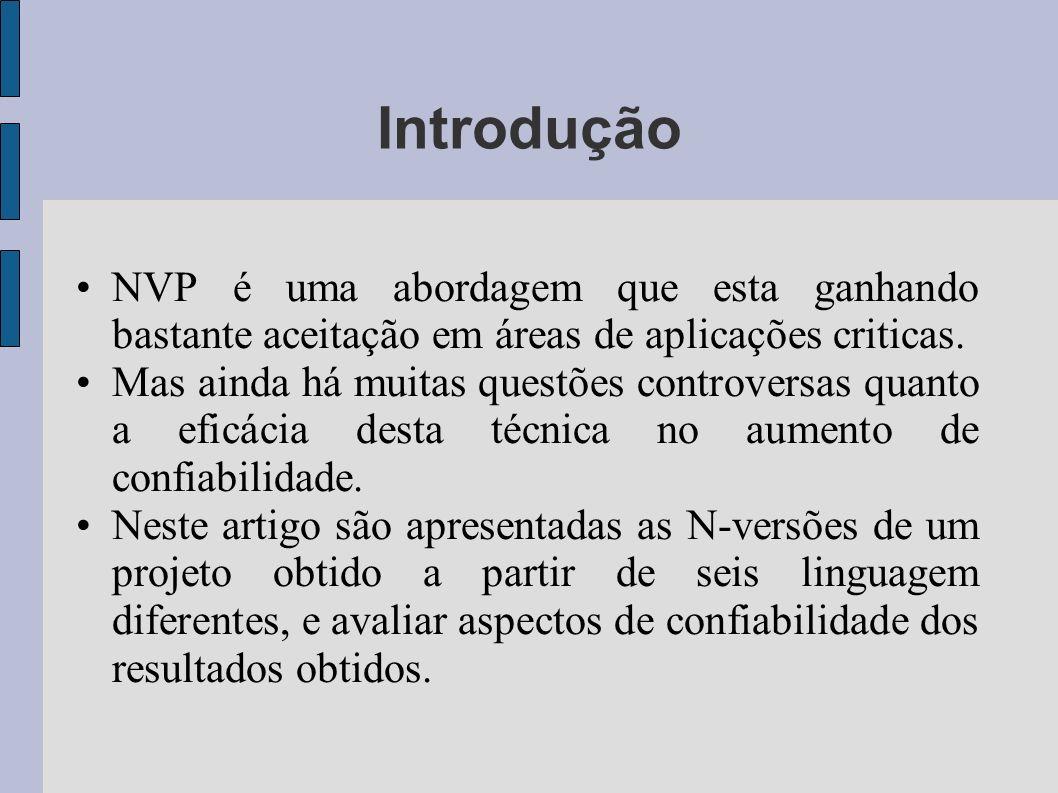 Introdução NVP é uma abordagem que esta ganhando bastante aceitação em áreas de aplicações criticas.