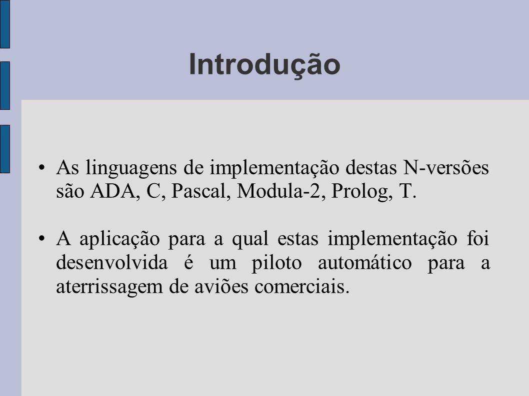 Introdução As linguagens de implementação destas N-versões são ADA, C, Pascal, Modula-2, Prolog, T.