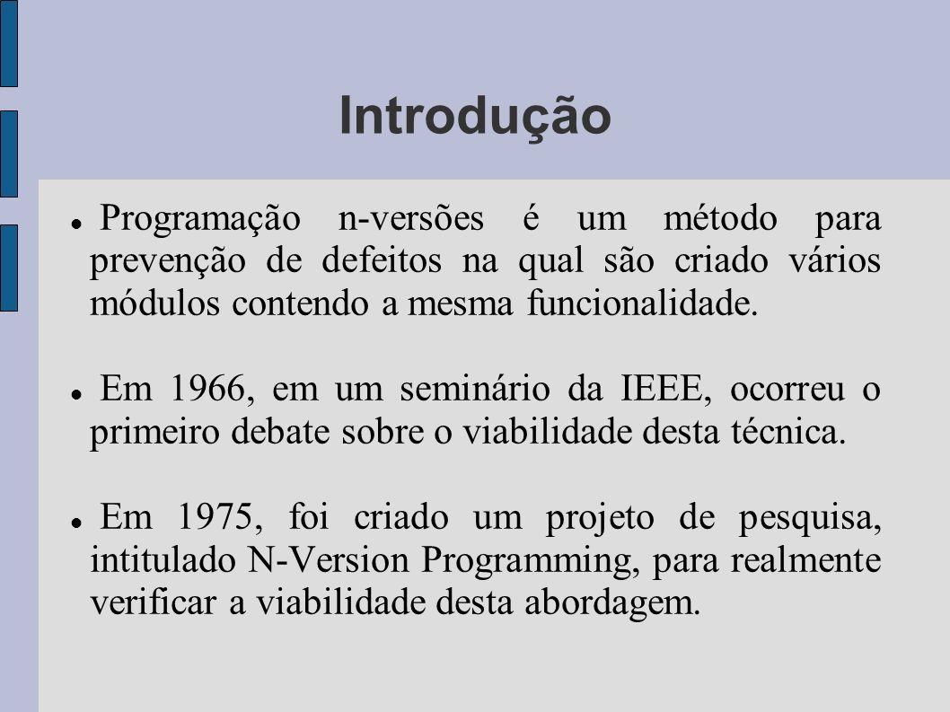 Introdução Programação n-versões é um método para prevenção de defeitos na qual são criado vários módulos contendo a mesma funcionalidade.