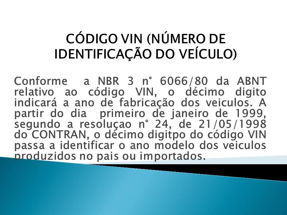 CÓDIGO VIN (NÚMERO DE IDENTIFICAÇÃO DO VEÍCULO)