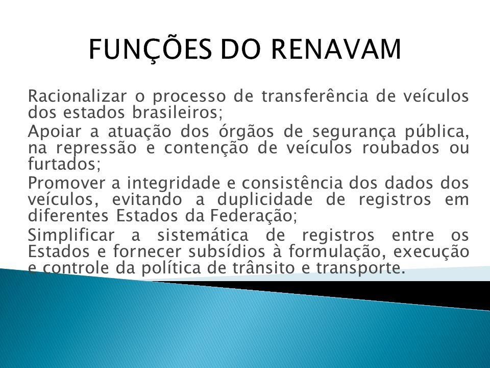 FUNÇÕES DO RENAVAM Racionalizar o processo de transferência de veículos dos estados brasileiros;