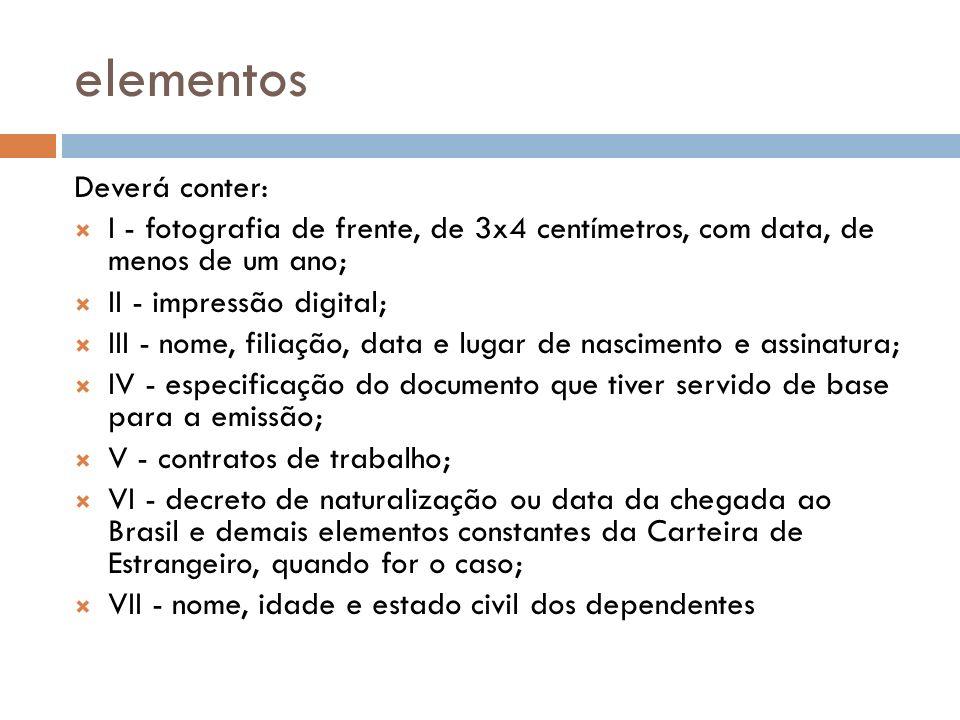 elementos Deverá conter: