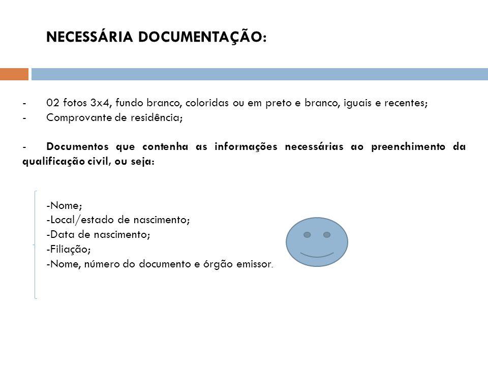 NECESSÁRIA DOCUMENTAÇÃO: