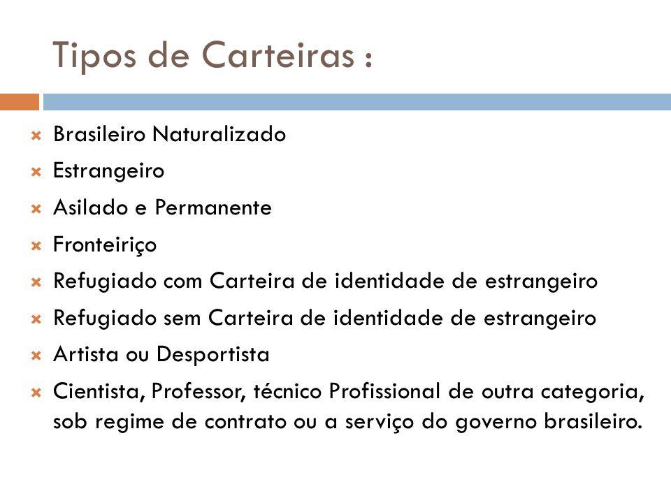 Tipos de Carteiras : Brasileiro Naturalizado Estrangeiro