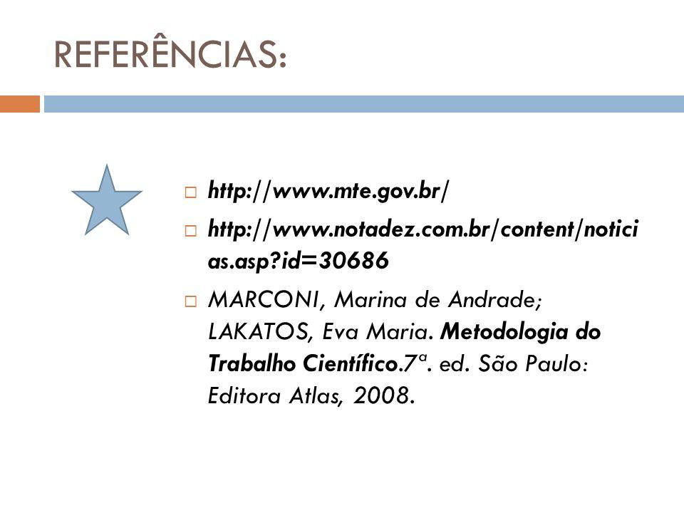 REFERÊNCIAS: http://www.mte.gov.br/